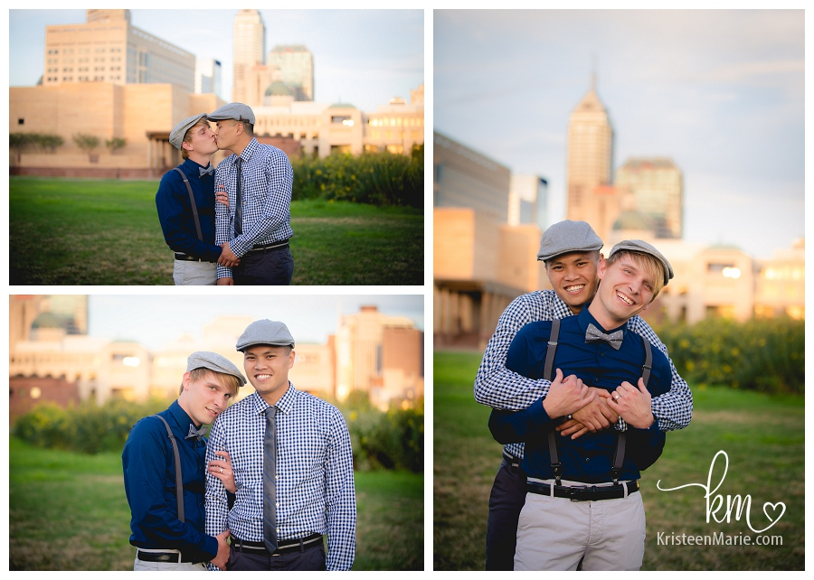 gay engagement picture with fun hats