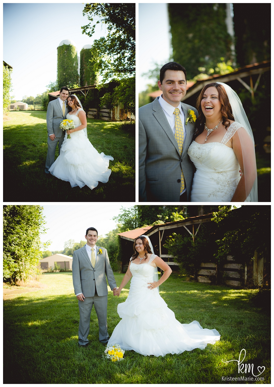 Bride and Groom in front of farmhouse