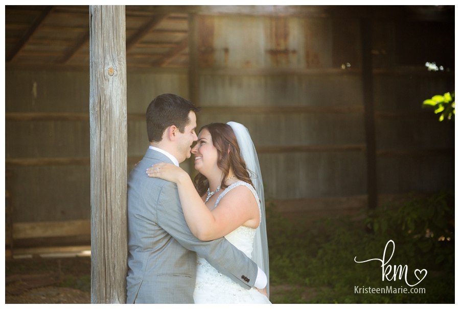 Wedding picture in old farm house