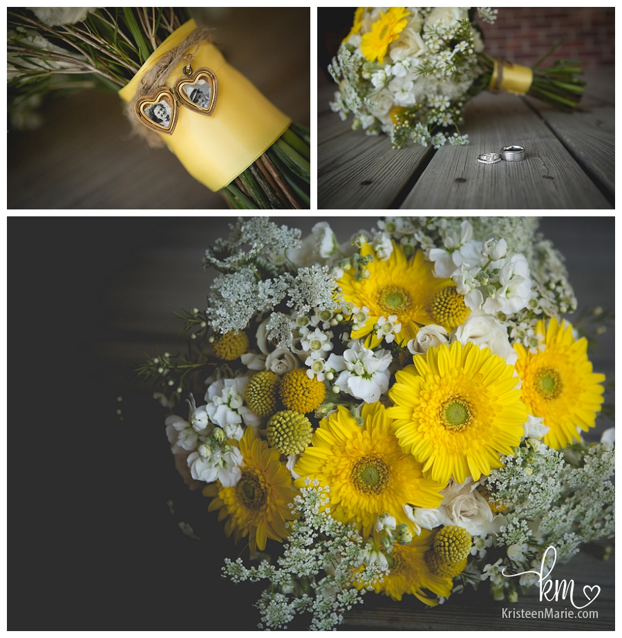 yellow bridal flowers with locket  and burlap