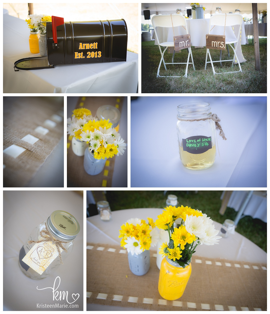 yellow and grey rustic wedding detials