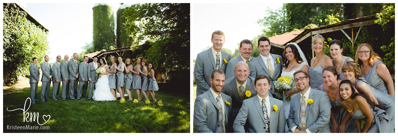 bridal party with yellow flowers