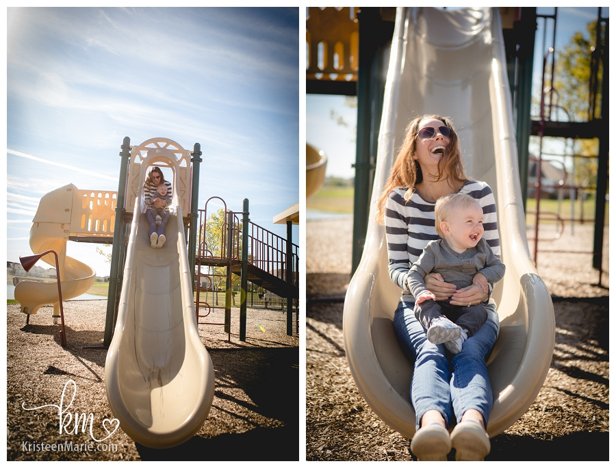 mother and son at park on slide