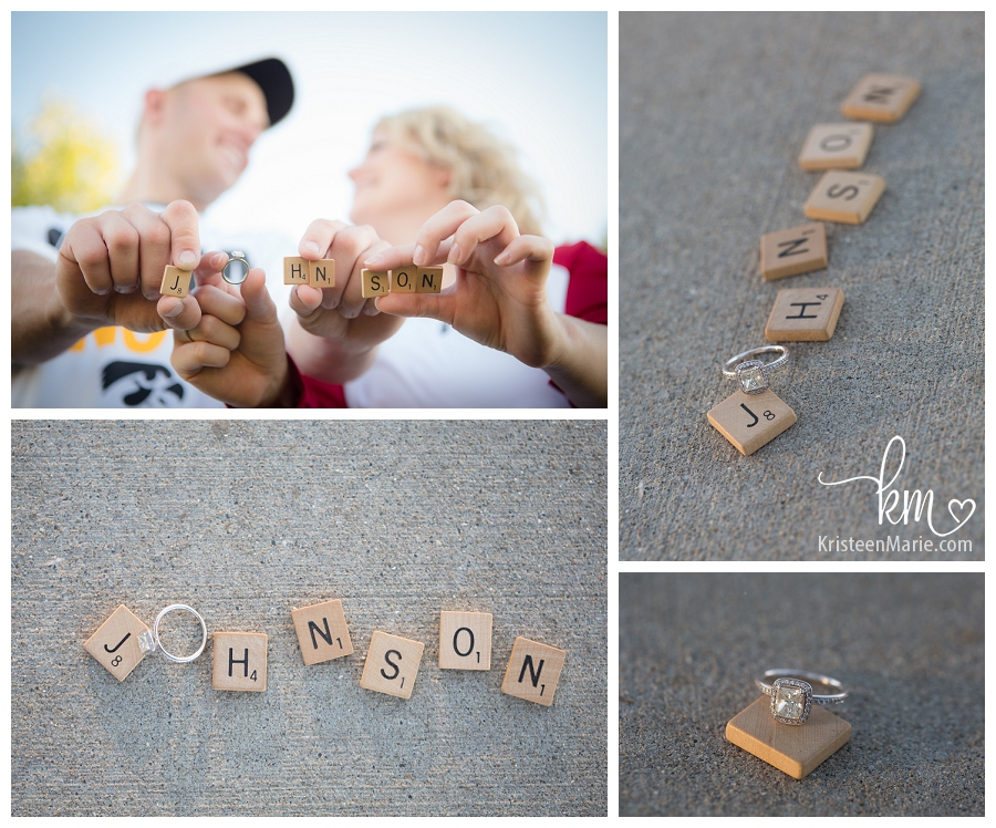 scrabble pieces and engagement ring
