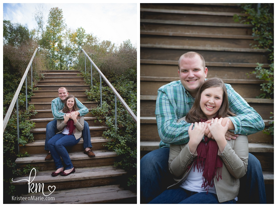couple on stairs at 100 Acre Woods