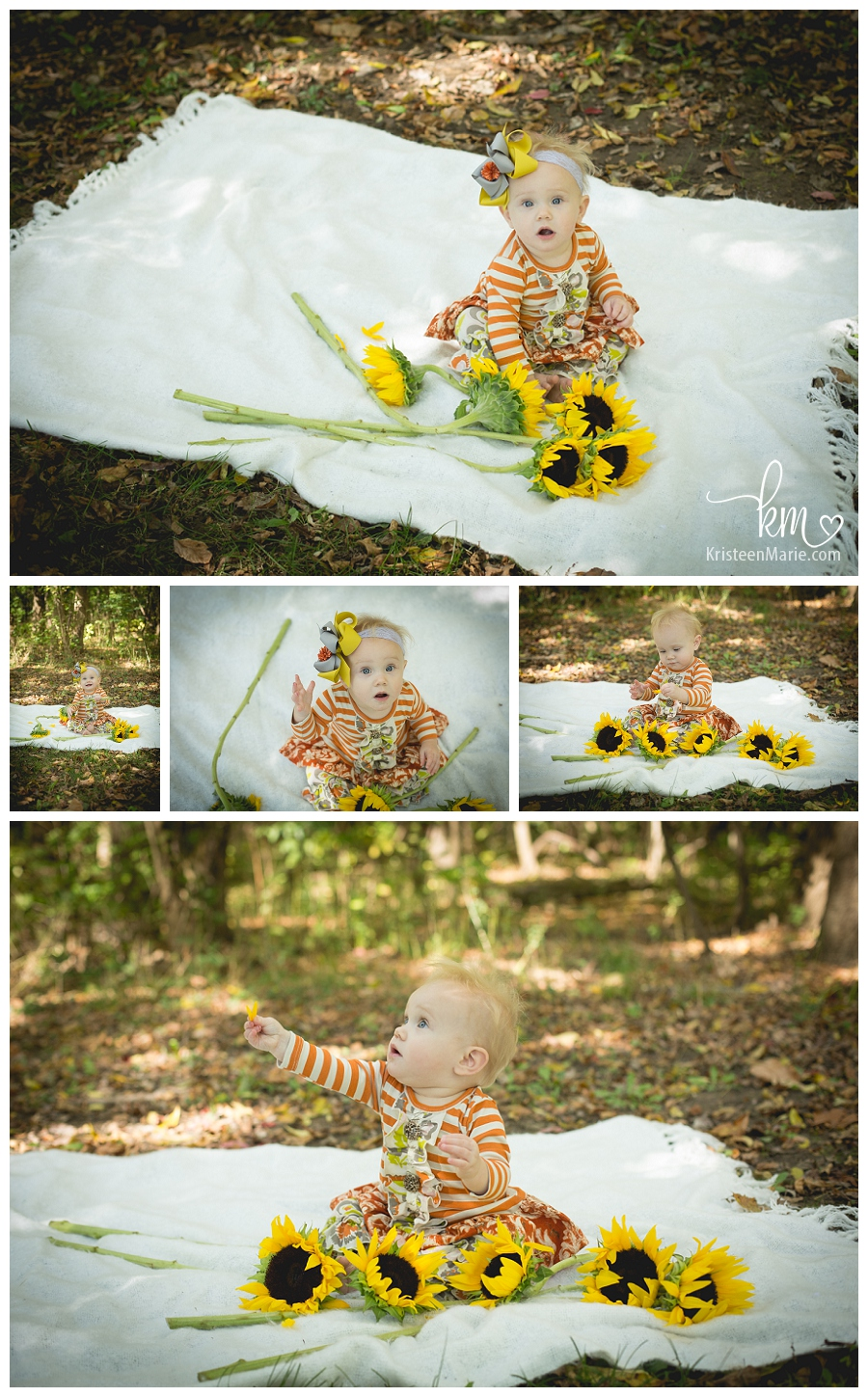 child with Sunflowers - Fall Picture