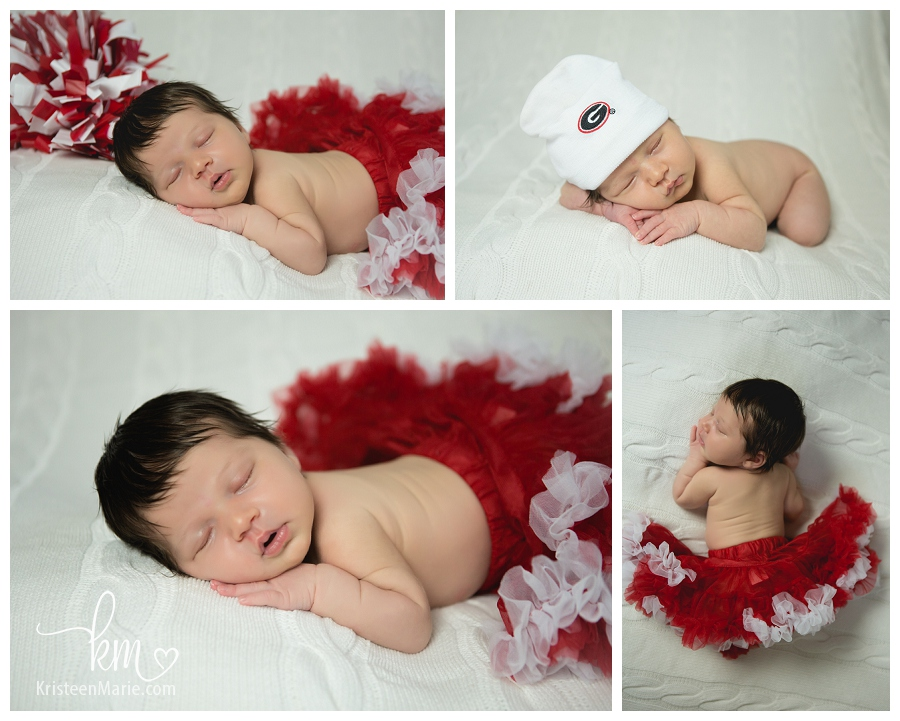 newborn in Georgia gear