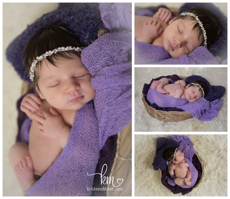 baby girl in purple bowl wrap