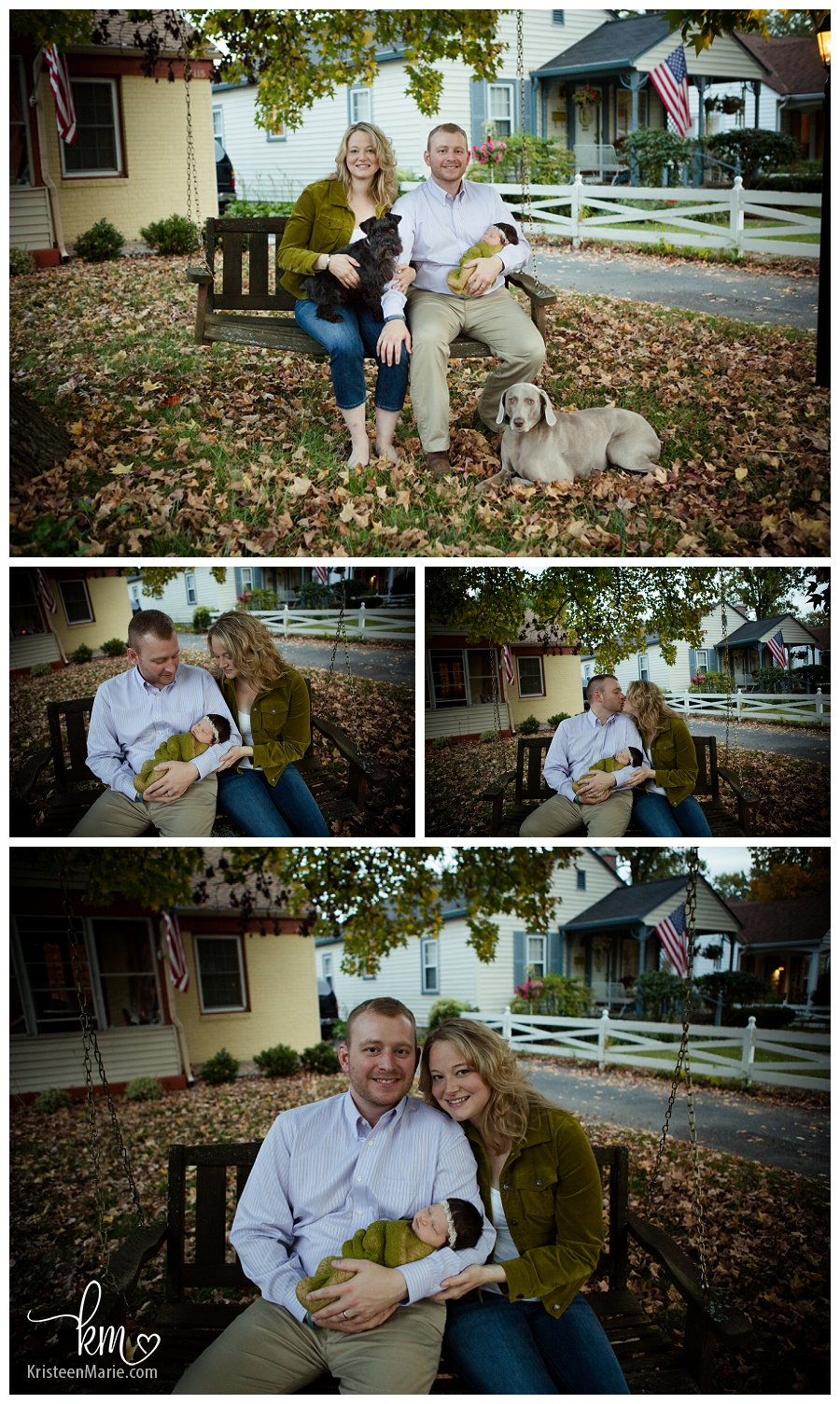 family pictures with newborn on tree swing