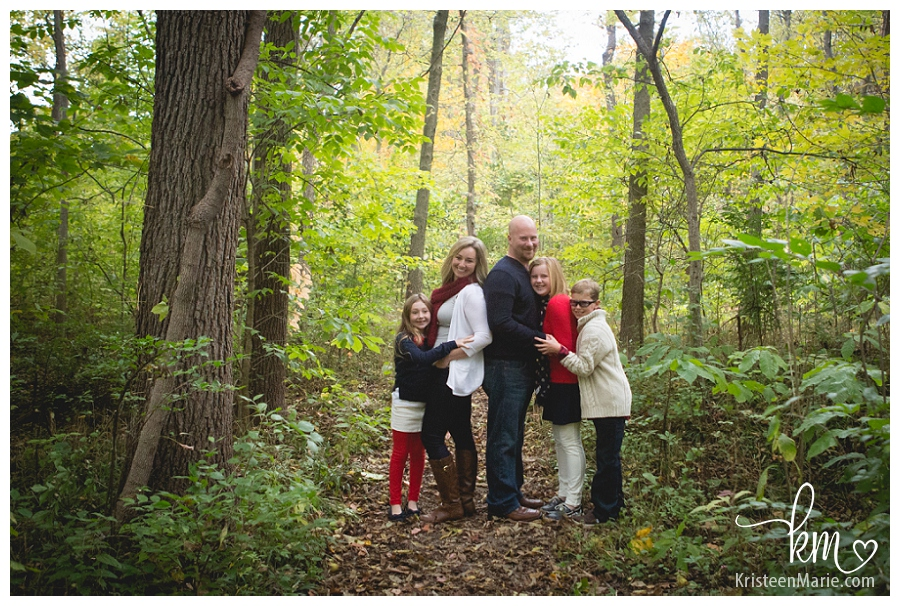 family pictures in a forest