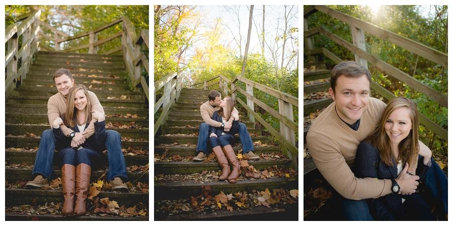 fall engagement picture on steps