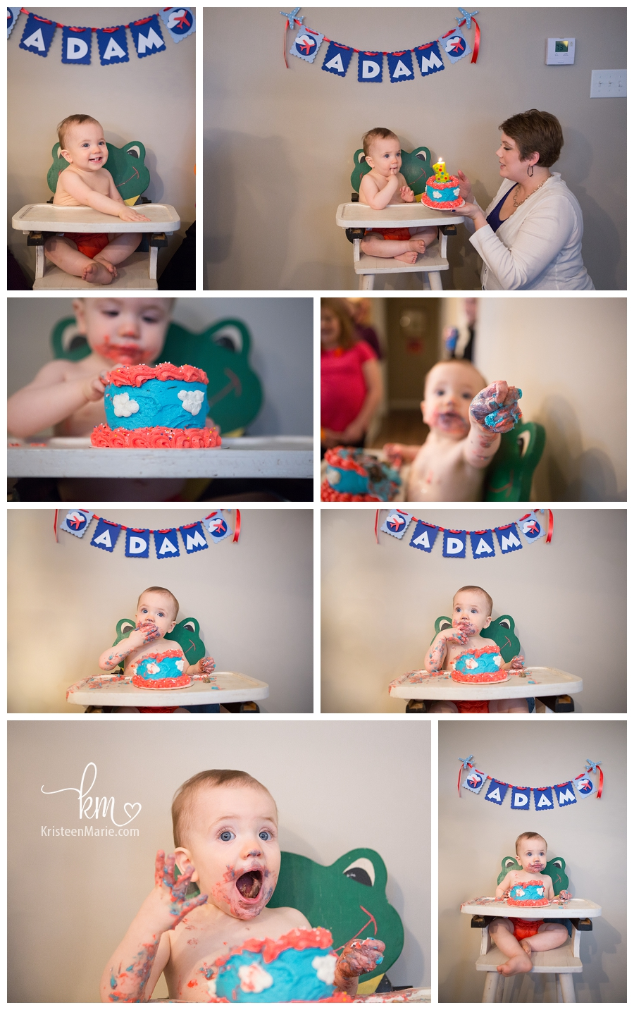 Cloud and flying birthday cake smash for first birthday