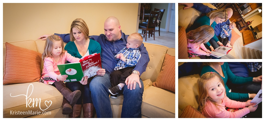 family reading Christmas story together