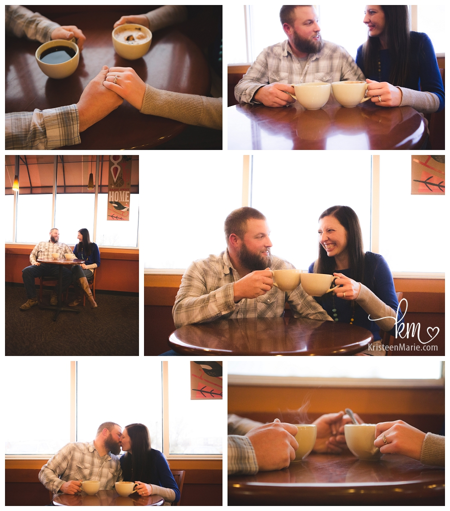 engagement photography in coffee shop