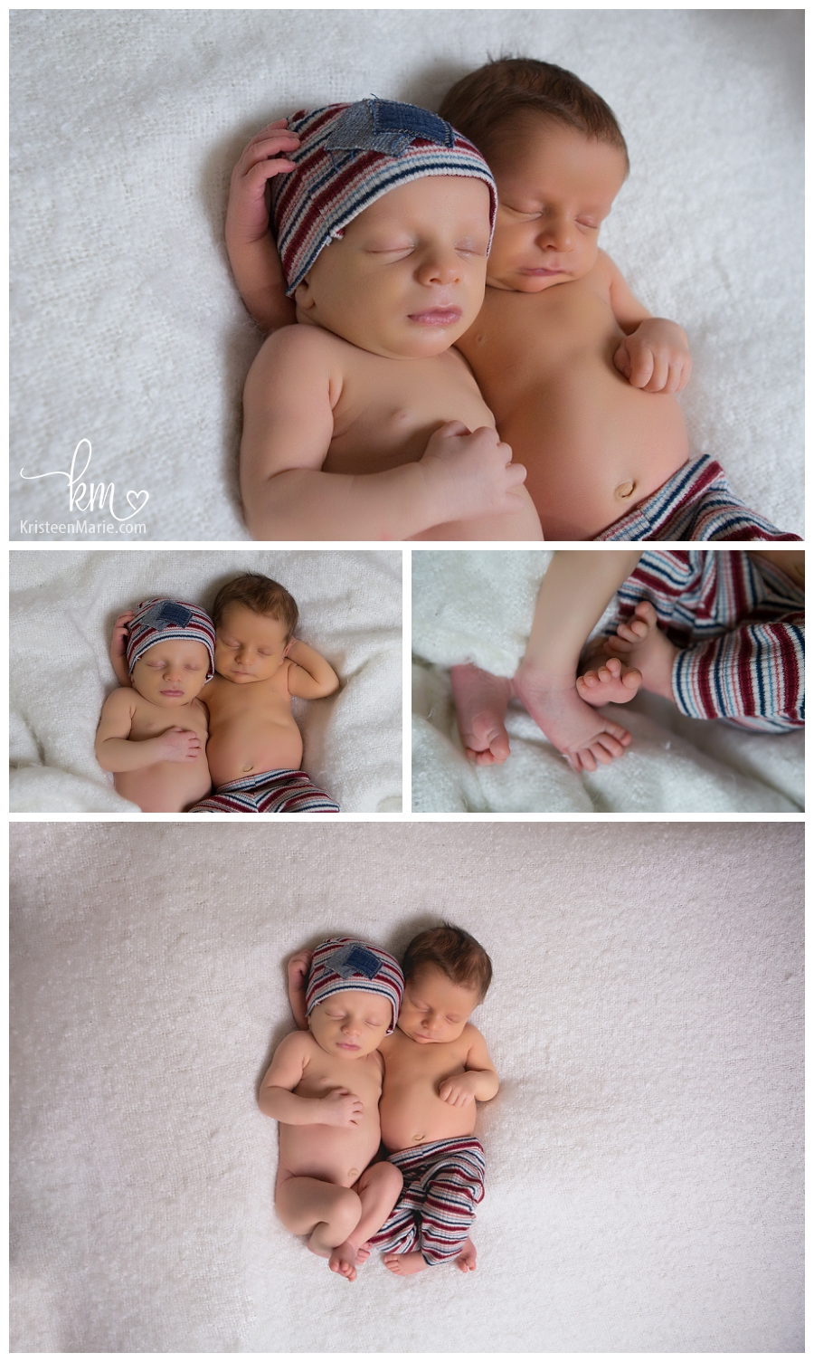 newborn boys in red white and blue