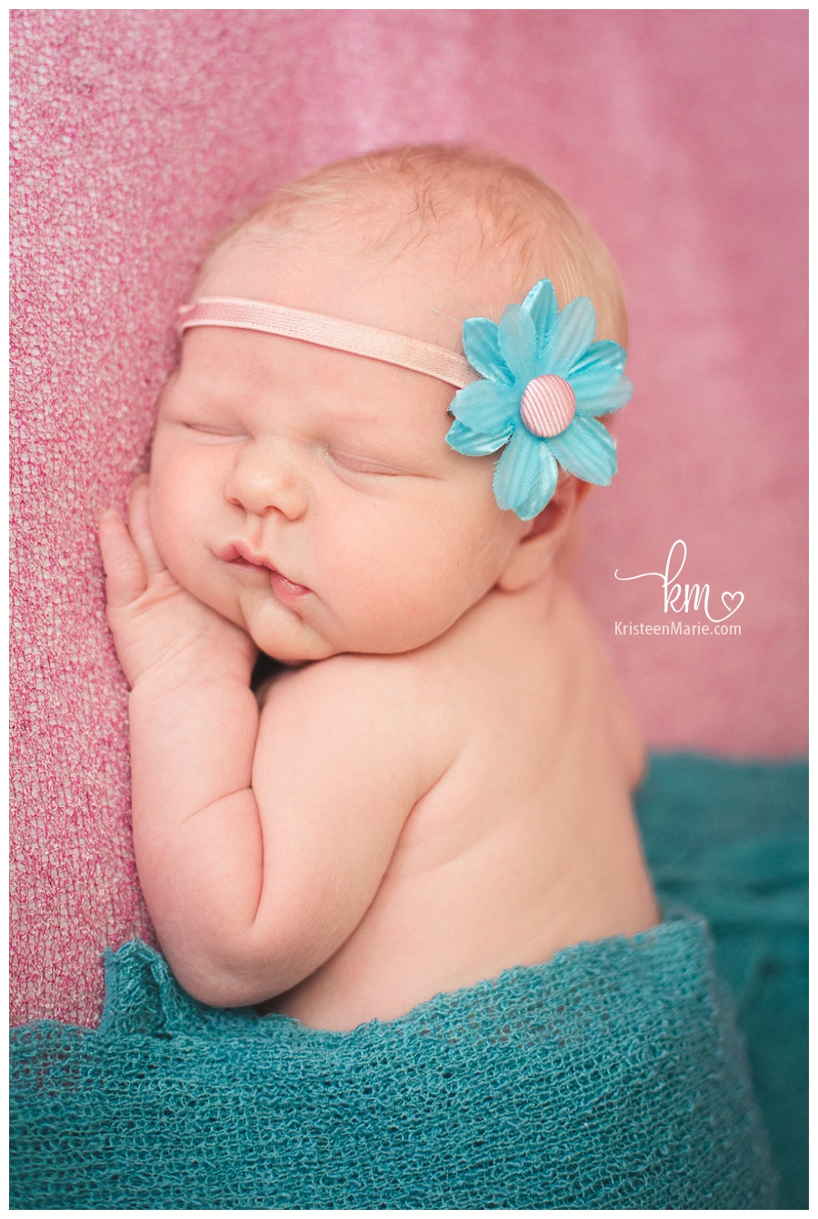 pink and teal - newborn photography