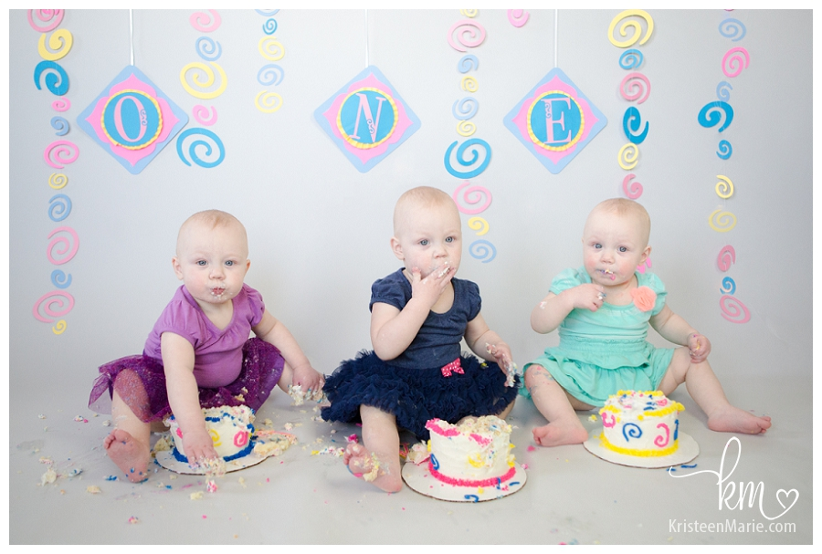 triplet girls first birthday