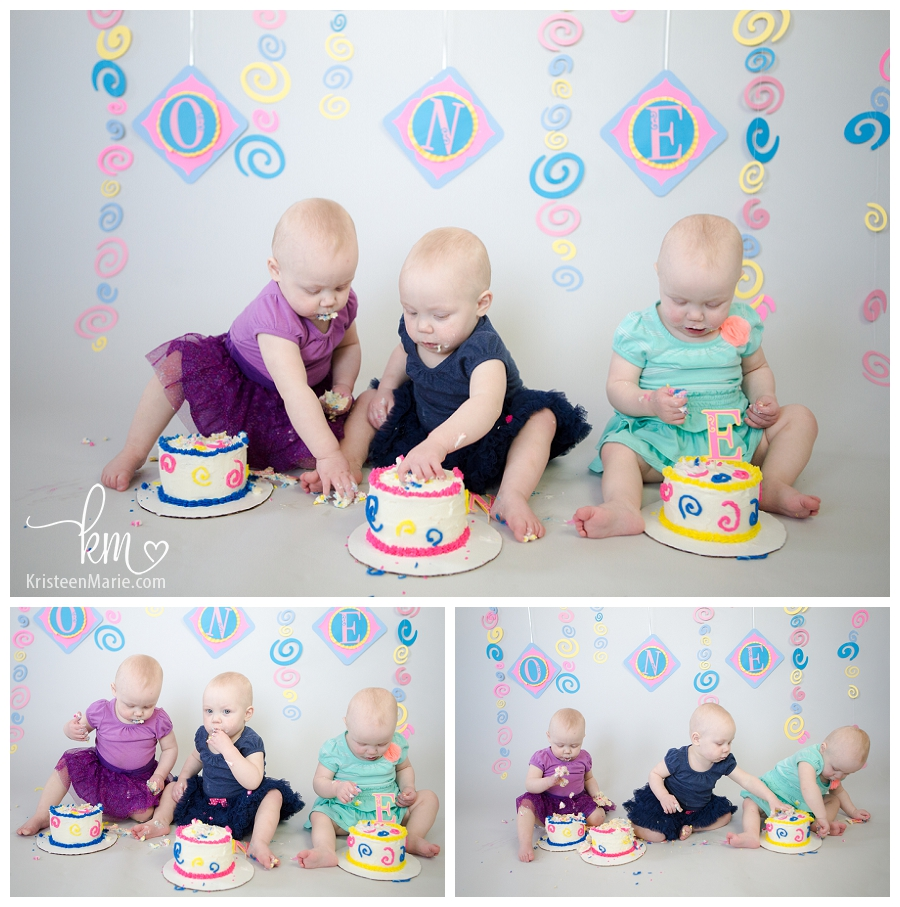 triplet cake smash - first birthday