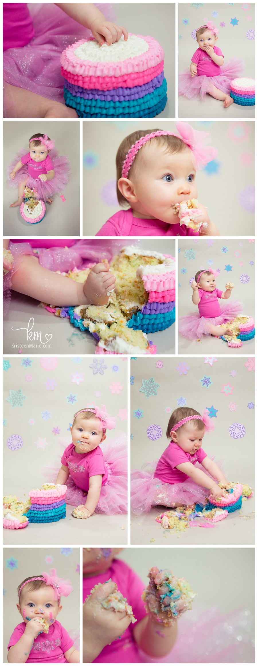 snowflake and ombre first birthday cake smash