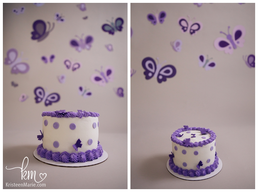 purple cake with butterflies