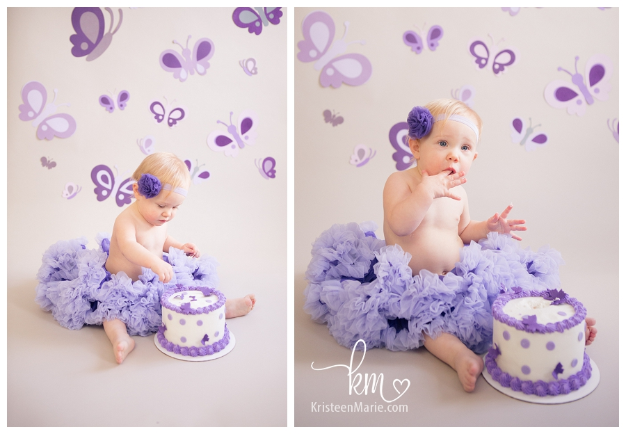 purple butterfly cake smash
