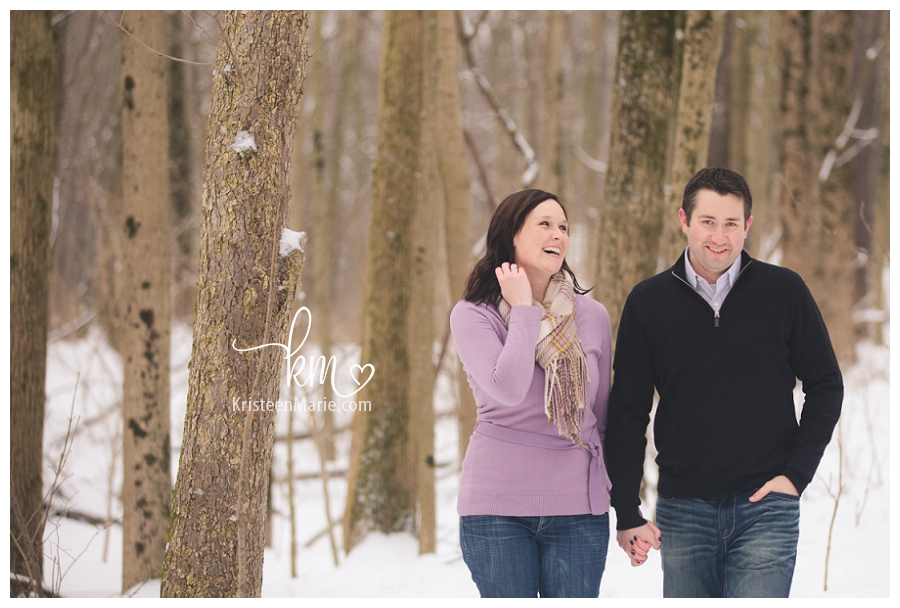 winter engagement photography in Indianapolis