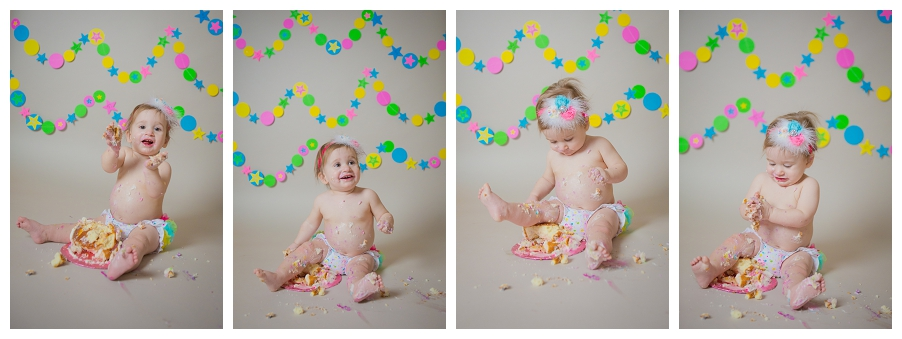 cake smash session - neon circus colors