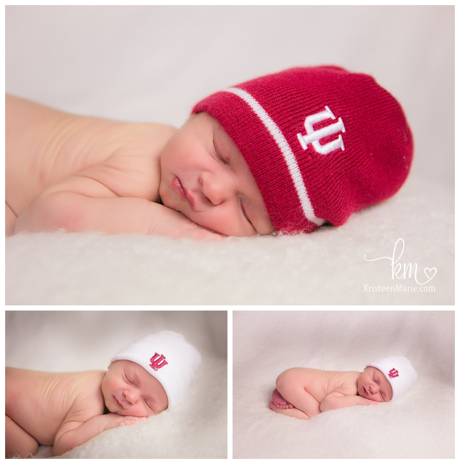 Newborn boy in IU hat