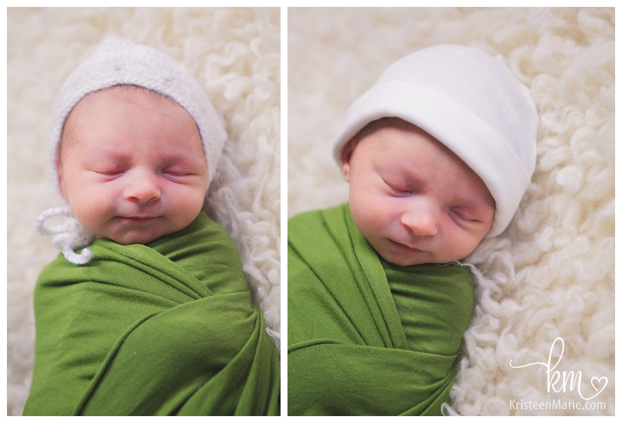 newborn in green