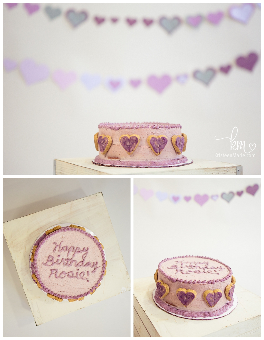 Dog Birthday Cake with purple hearts