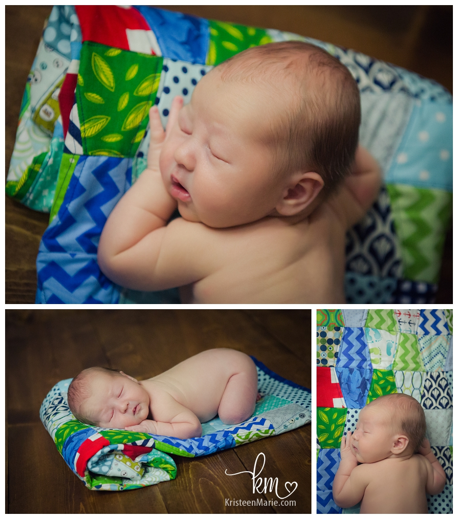 baby on hand made quilt