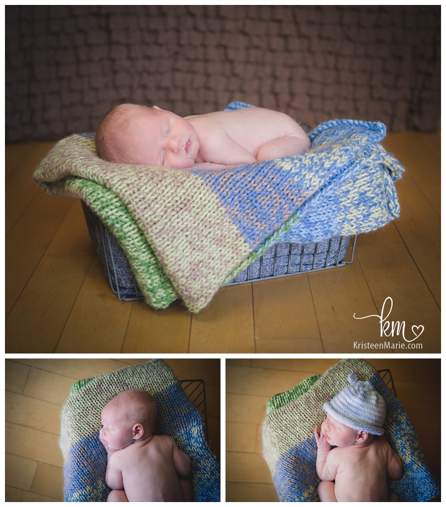 baby in a basket - Chicago newborn photography
