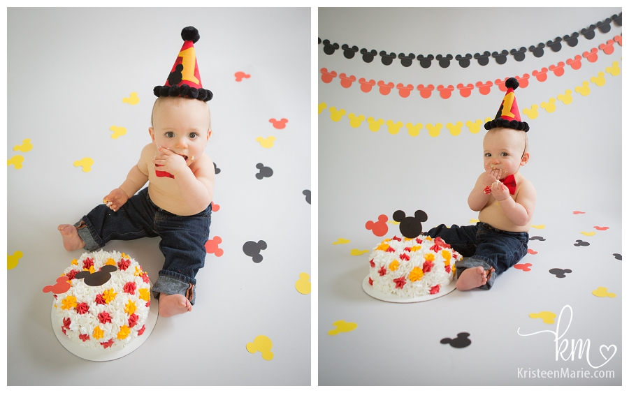 Mickey Mouse Smash Cake: Mickey Mouse Cake Smash Session