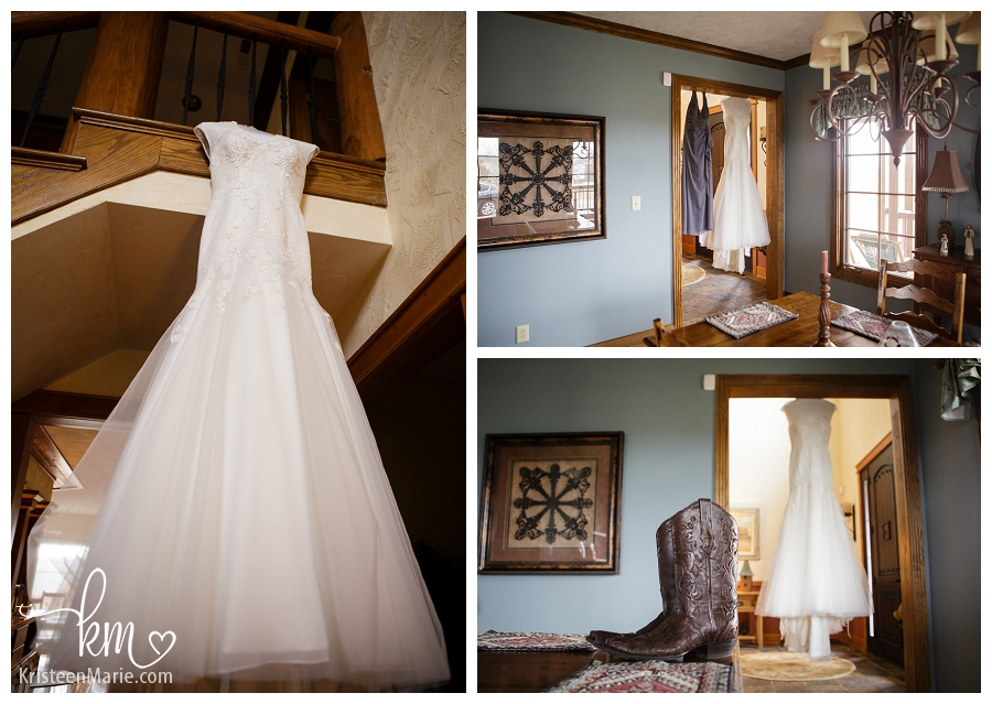 The wedding dress and cowboy boots