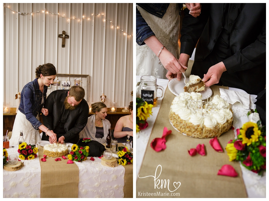 Cutting on the cheese cake at wedding