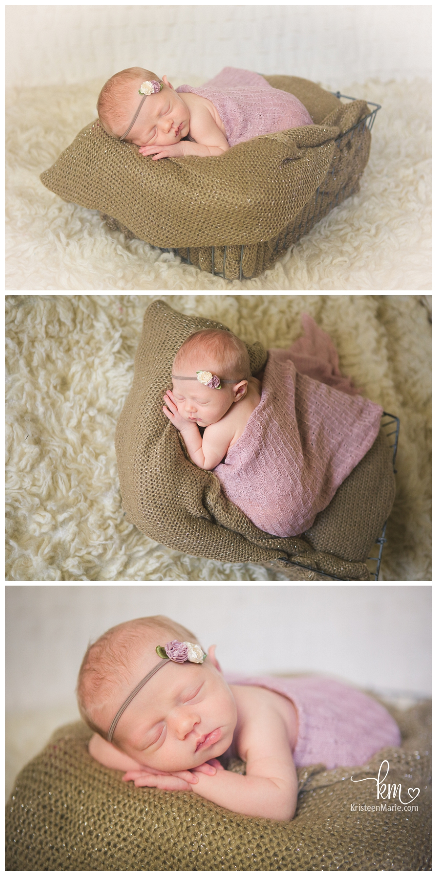 pink and tan - newborn baby girl