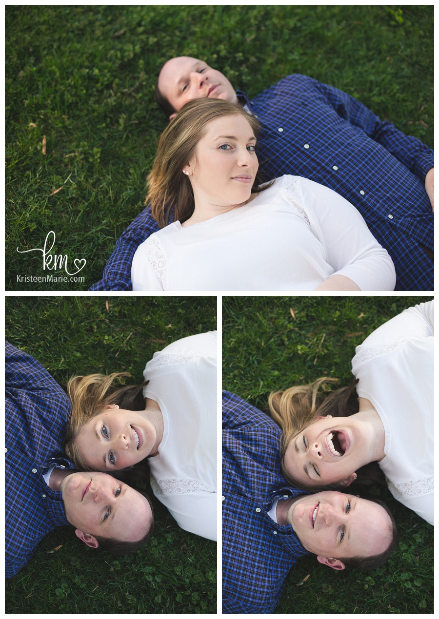 Laying on the ground engagement photography