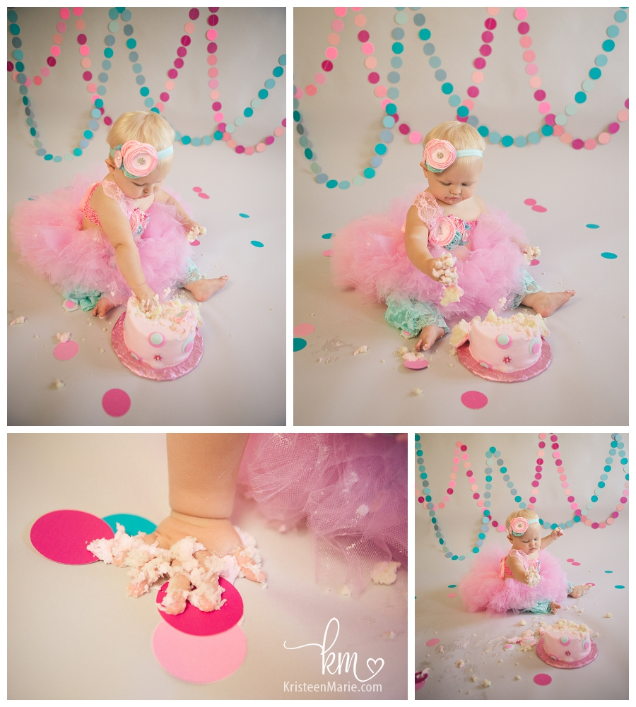 Pink and teal cake smash session for first birthday