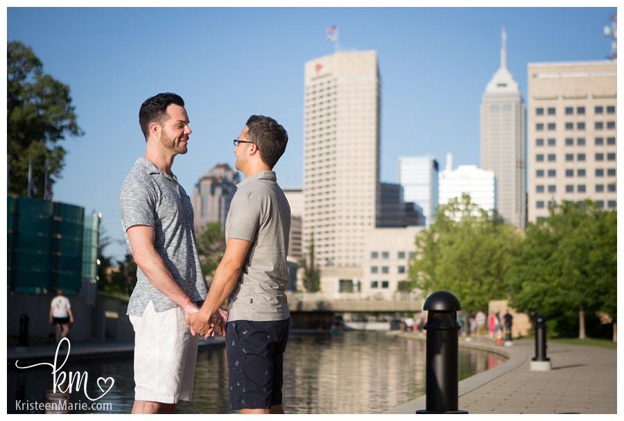 GLBTQ Engagement Pictures with Indianapolis Skyline