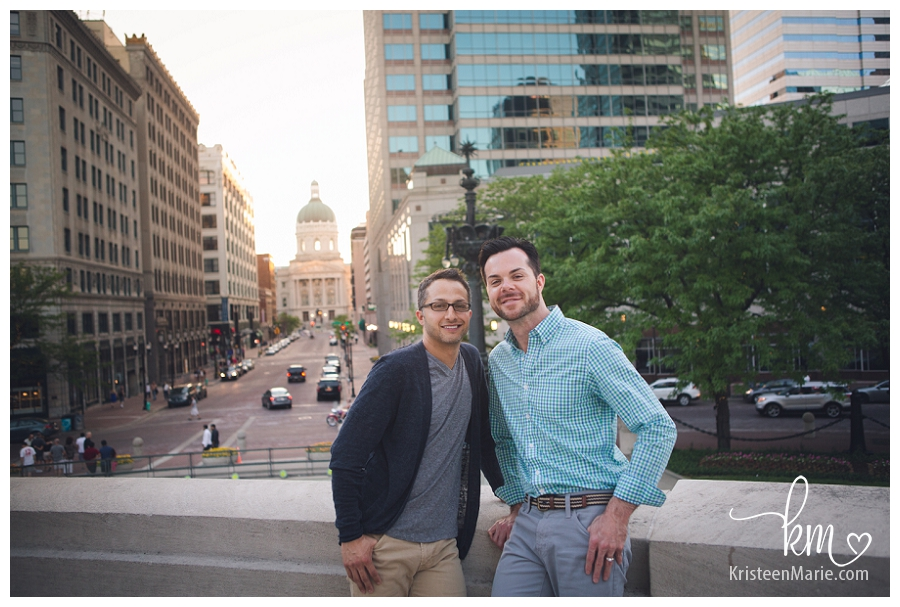 Gay couple with capital building in background