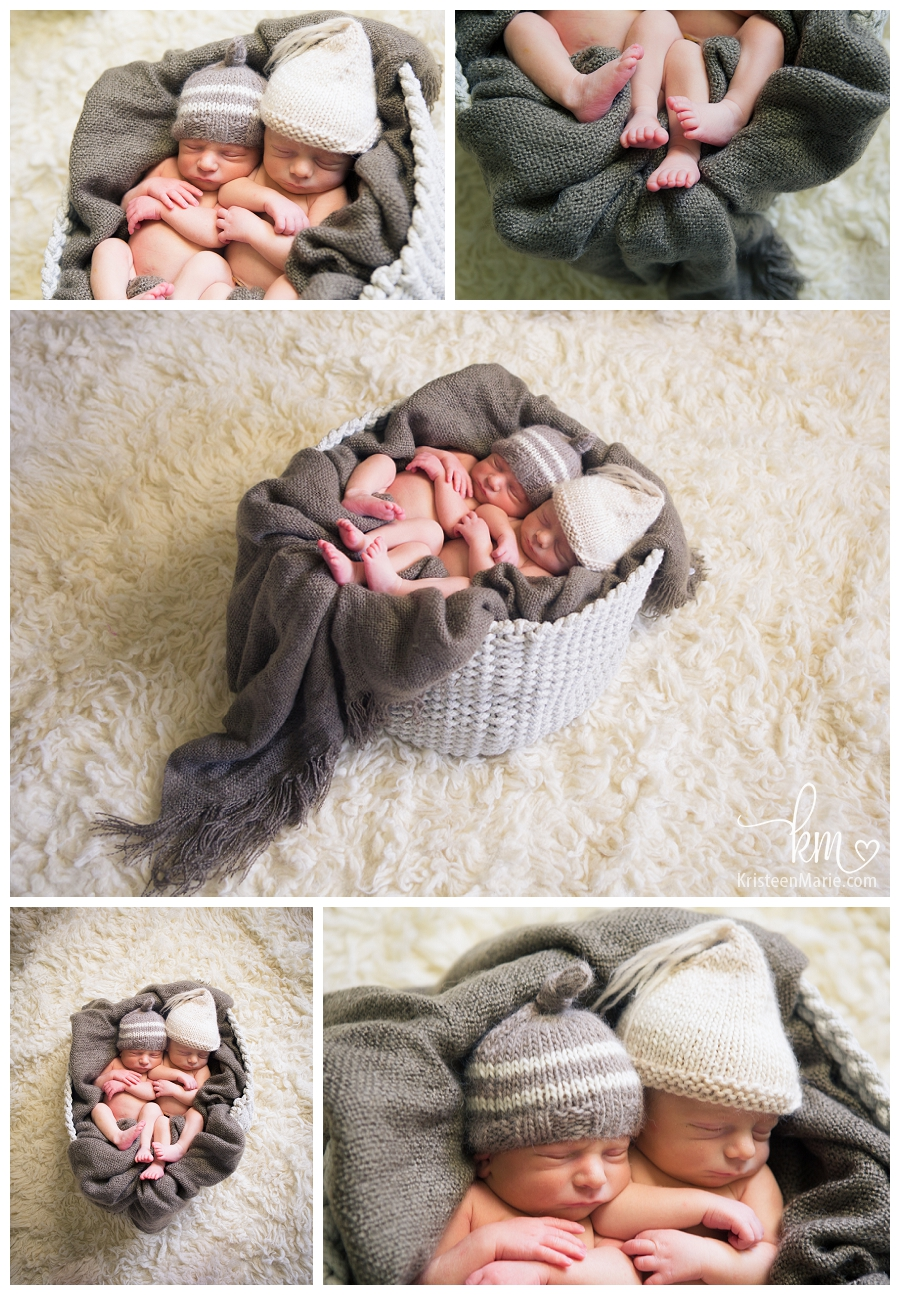 newborn twin boys in basket