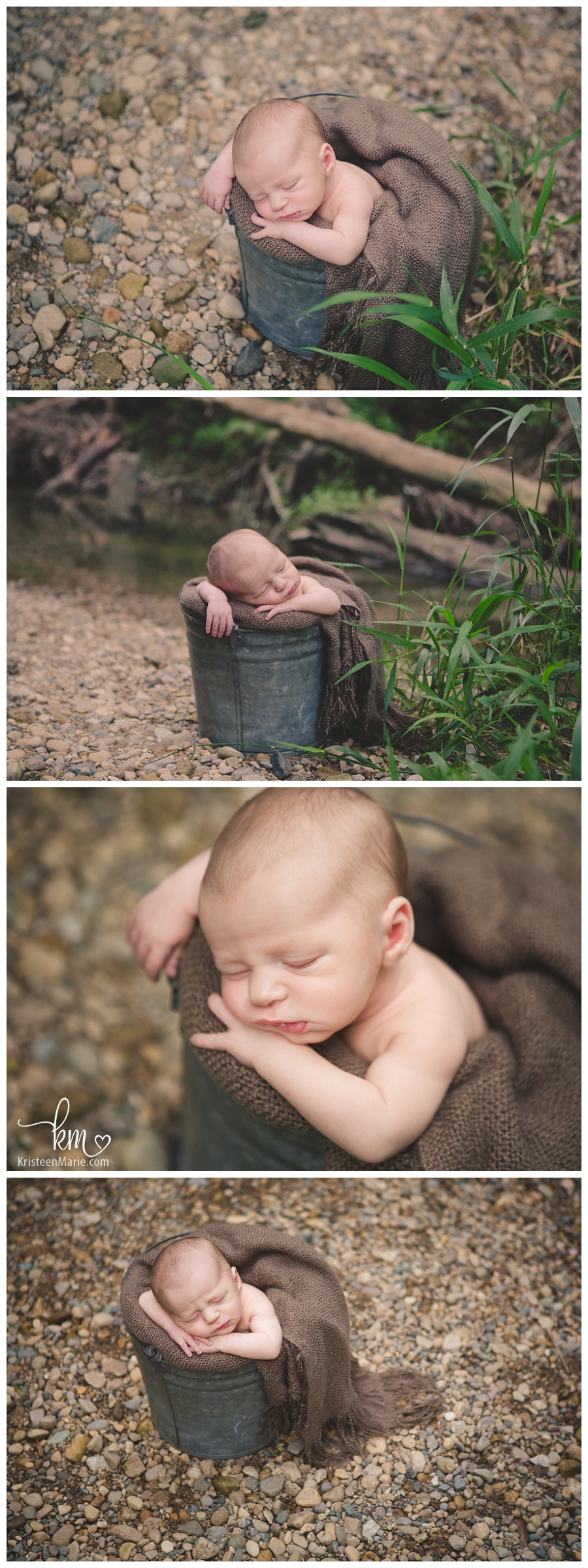 newborn boy outside for photography in Indianapolis
