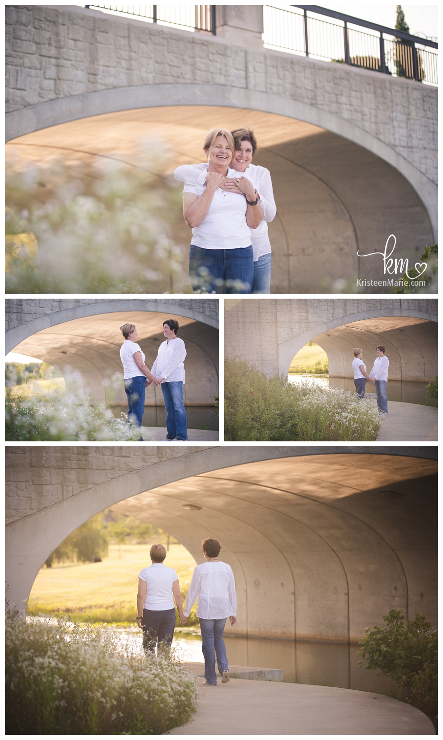 couple walking under a bridge