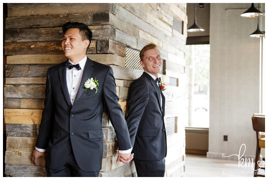 gay wedding first look at Omni Hotel in Indianapolis, IN