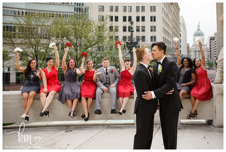 wedding party downtown Indianapolis
