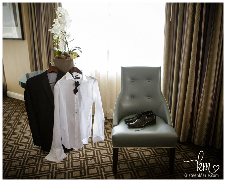 groom's wedding details in hotel room - Omni Hotel Indianapolis