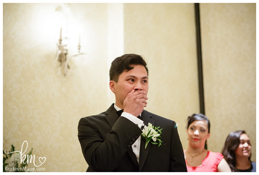 his reaction upon seeing his groom