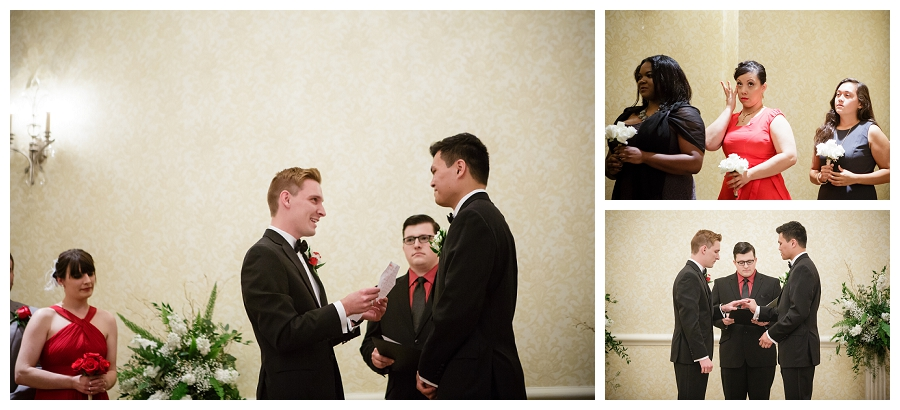 Gay guys wedding ceremony at Omni Hotel in Indianapolis