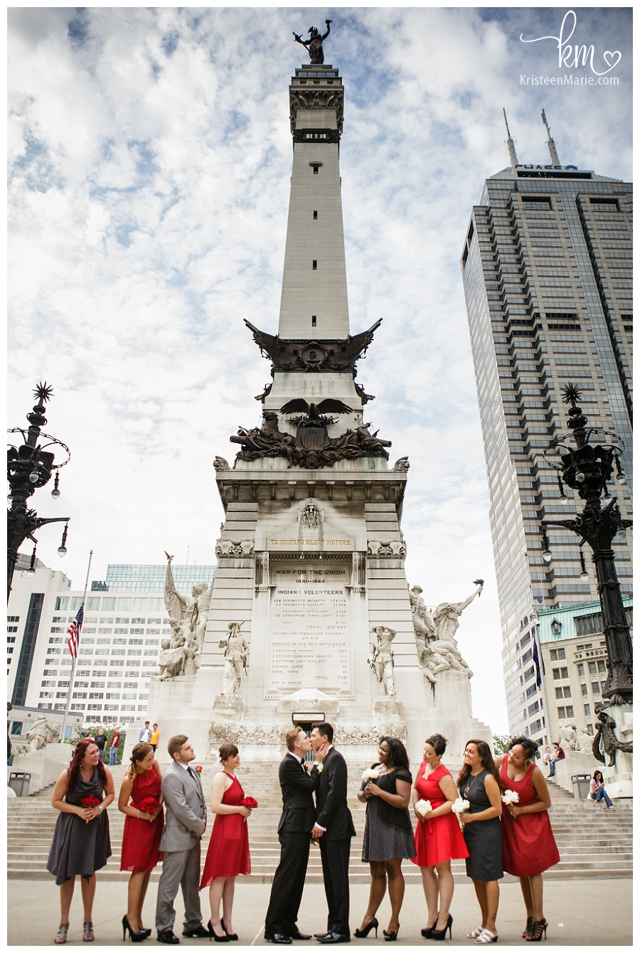 gay wedding on circle in downtown Indianapolis