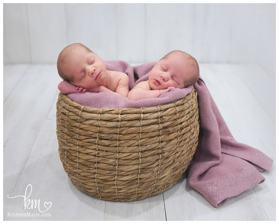 newborn Zionsville twins in basket